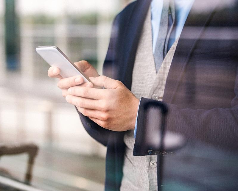 checking analytics on smartphone